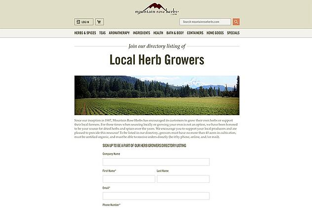 Screen Shot of Herb Farm Resource Sign Up Form