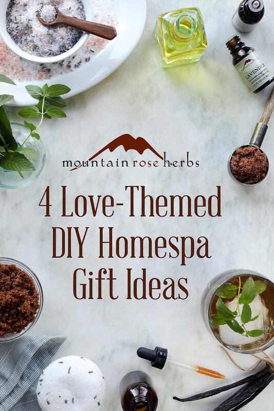 Love-themed diy projecs include lavender bath salts, a love elixir, and vanilla salt scrub for home spa uses.