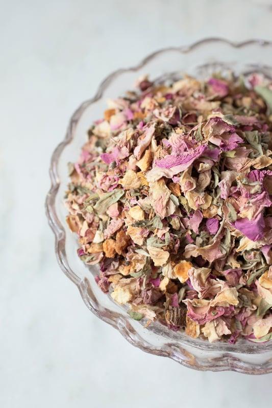 Loose-leaf love tea in a crystal bowl