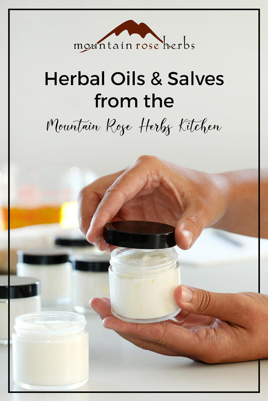 Learn about how Mountain Rose Herbs makes small batch herbal salves, oils, creams, and lotions in our kitchen.