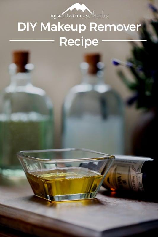 DIY Makeup Remover Recipe Pinterest pin from Mountain Rose Herbs.