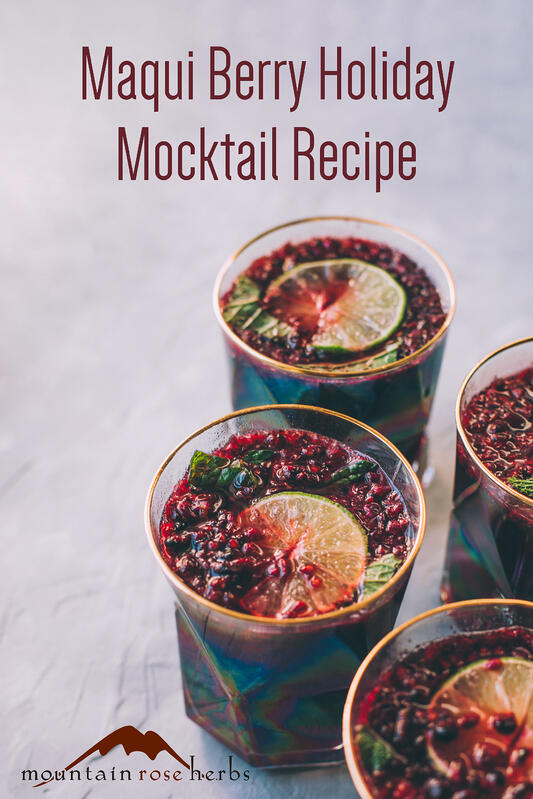 Holiday cocktails, or mocktails without alcohol, made with organic maqui berries and bilberries in trendy glass jars with gold rims and garnished with pomegranate seeds, fresh lime wheels, and cranberries.