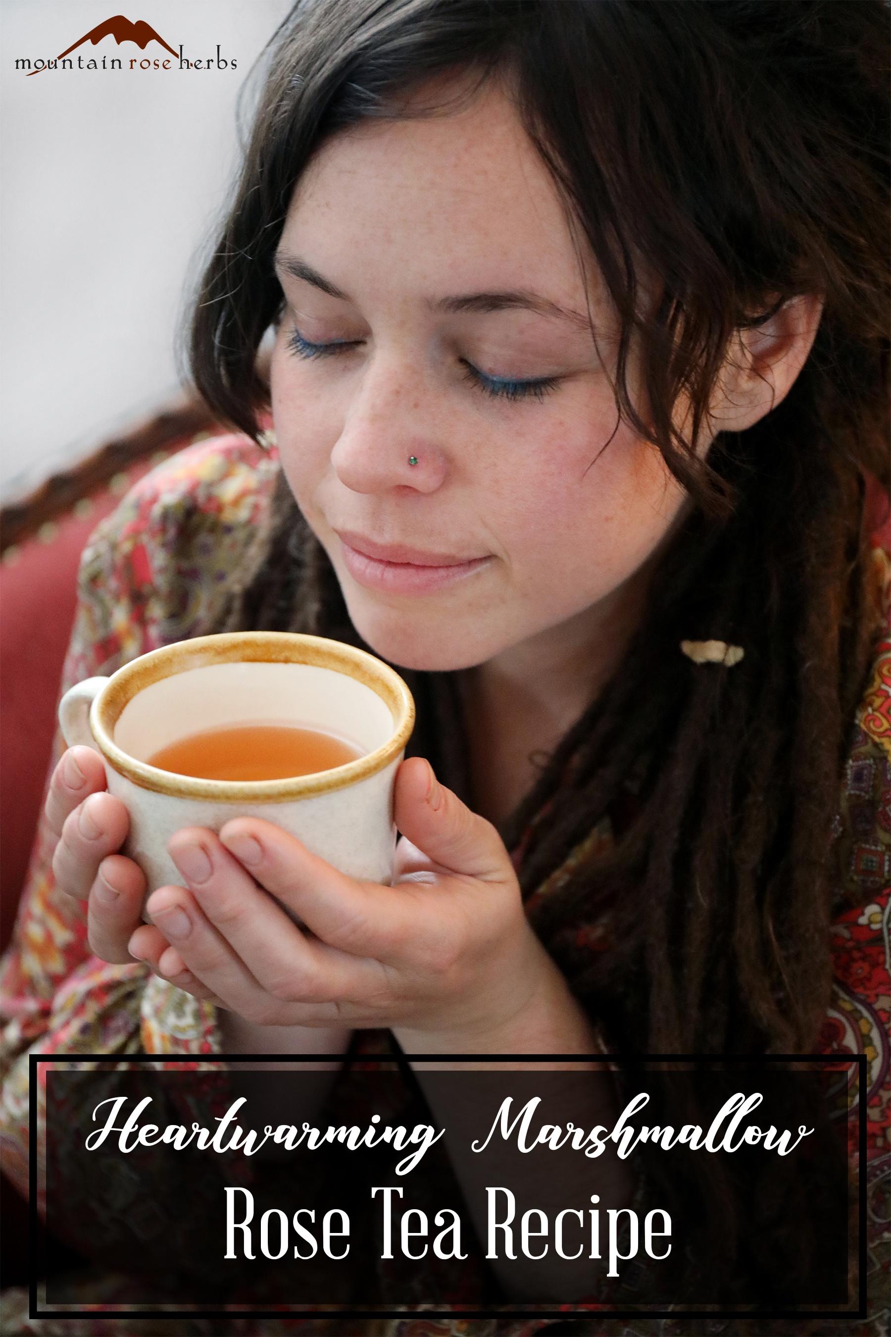 PInterest Pin for Heartwarming Marshmallow Rose Tea Recipe from Mountain Rose Herbs
