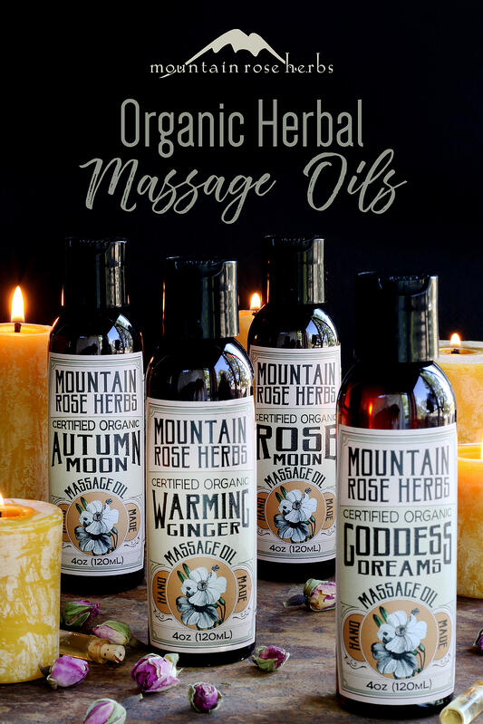 Pinterest link to Mountain Rose Herbs. Natural and organic massage oil collection arrange with beeswax candles and dried rose buds. Four natural massage oil varieties from Mountain Rose Herbs.