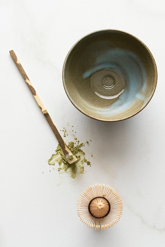 Matcha Set with splash of matcha powder