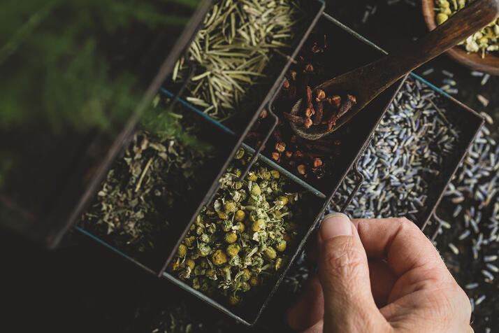 Sectioned display filled with colorful herbs