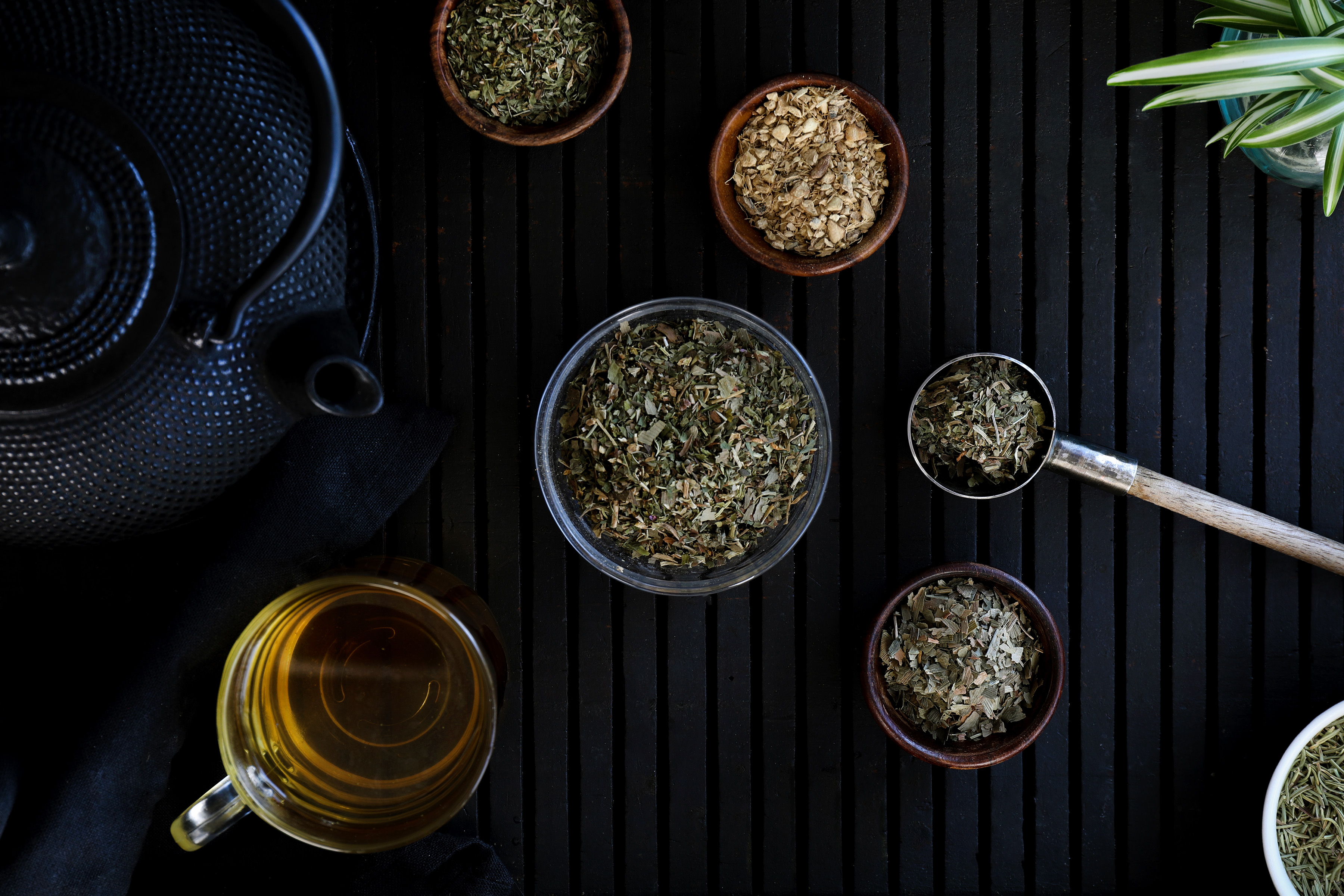 Ingredients for blending a tea for brain functioning and memory aid include ginko biloba, gotu kola, ginger root, rosemary, peppermint, and red clover.