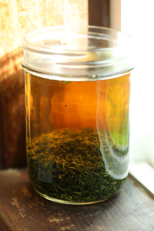 Dried nettle leaves infusing in glass canning jar on windowsill.