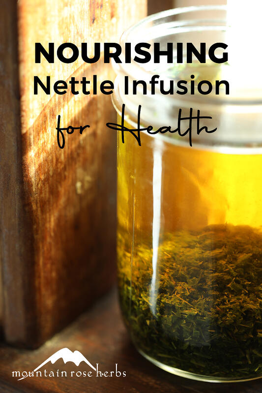 Nettle Leaf Infusion Pinterest pin from Mountain Rose Herbs.