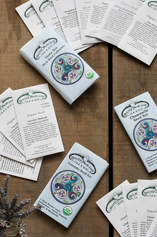 Strictly Medicinal Seed Packets on Table