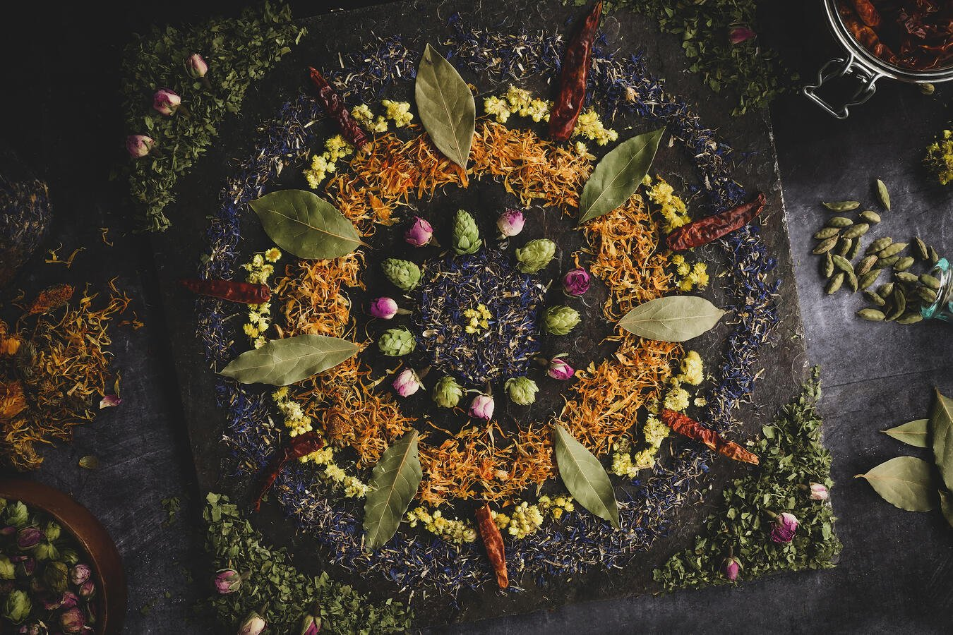 Mandala made from old herbs.