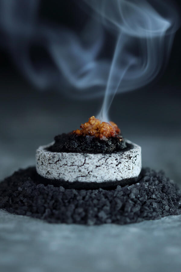 Opopanax resin burning on a charcoal disk. Smoke is rising from a lit clump of resin burning on a charcoal round.
