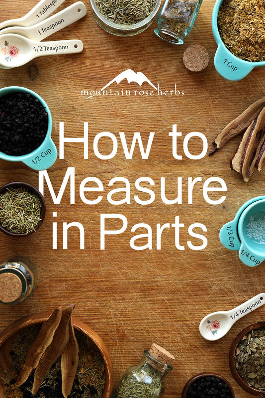 Various kitchen measuring tools are used for to help traditional herbalists measure in parts when making herbal recipes. Reishi mushroom, organic bilberries, rosemary leaf, and gotu kola can be added to herbal recipes in parts when using measuring cups and measuring spoons.