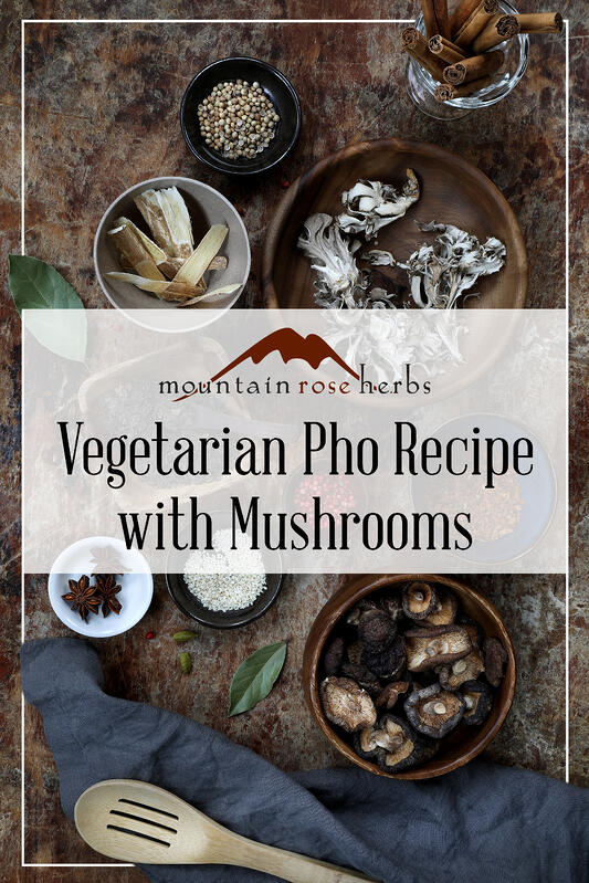 Pin for Vegetarian Pho Recipe with Mushrooms.