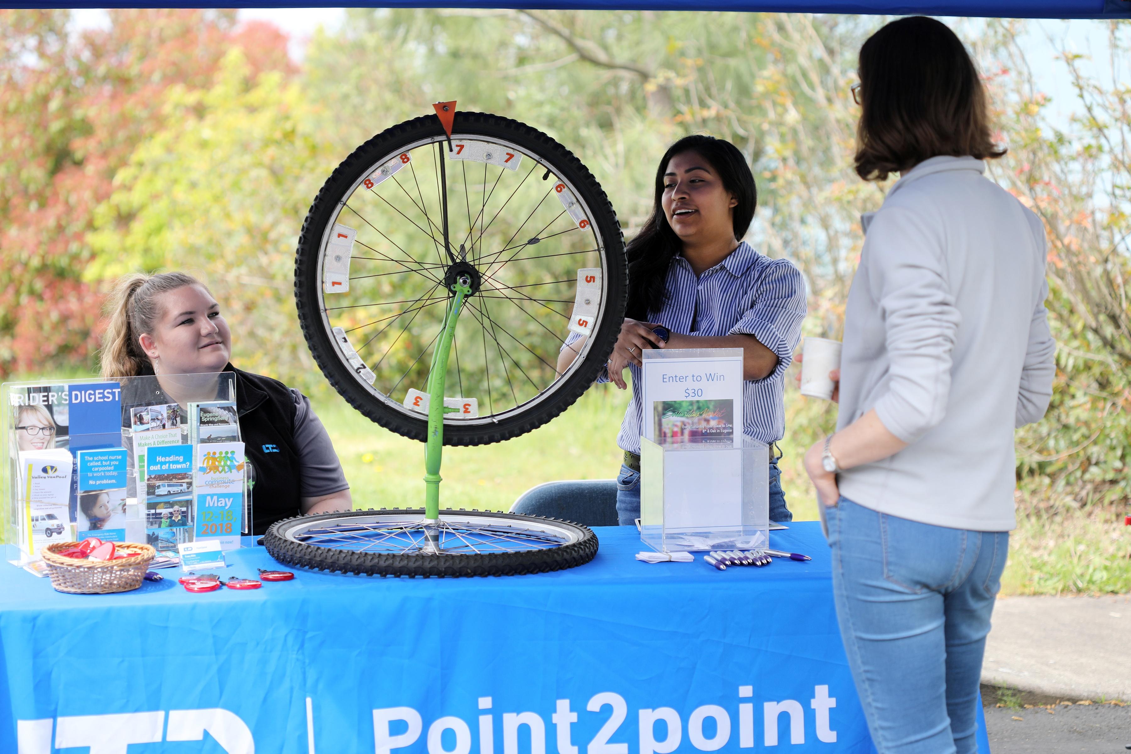 Lane Transit District booth educates MRH employees on alternate modes of transportation