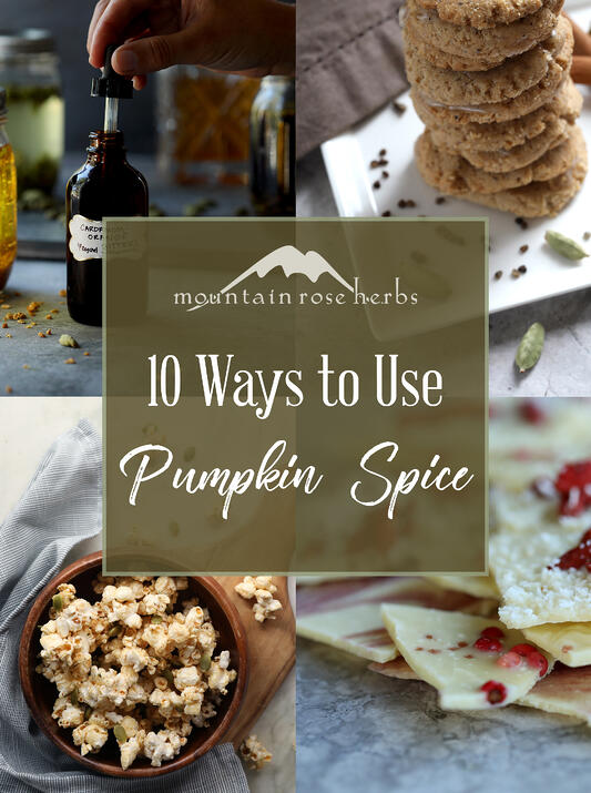 Pinterest link to Mountain Rose Herbs. 10 ways to use pumpkin pie spice, including sweet and spicy caramel corn, spiced old fashioned cocktail, and white chocolate bark.