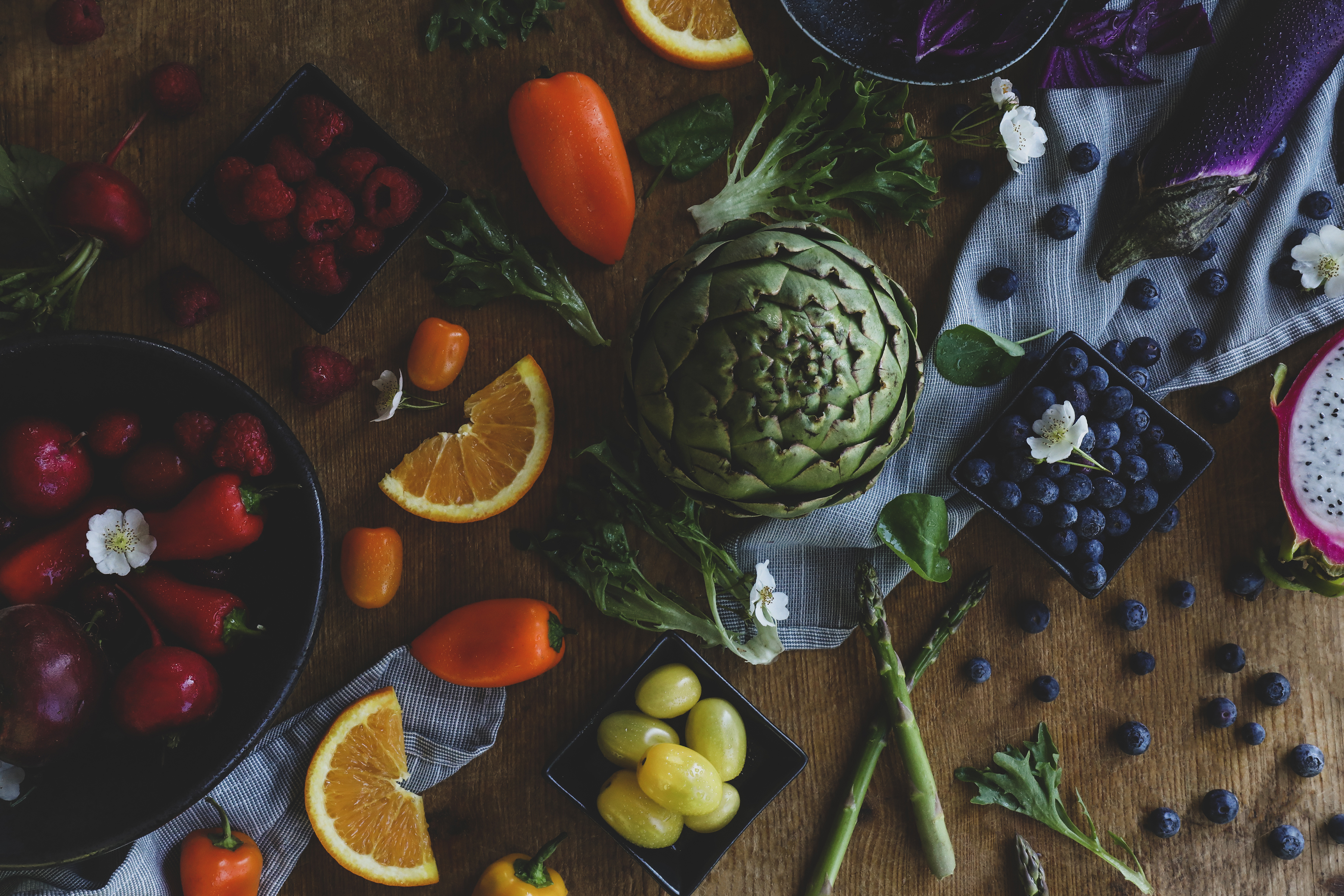 Lots of colorful fruits and veggies