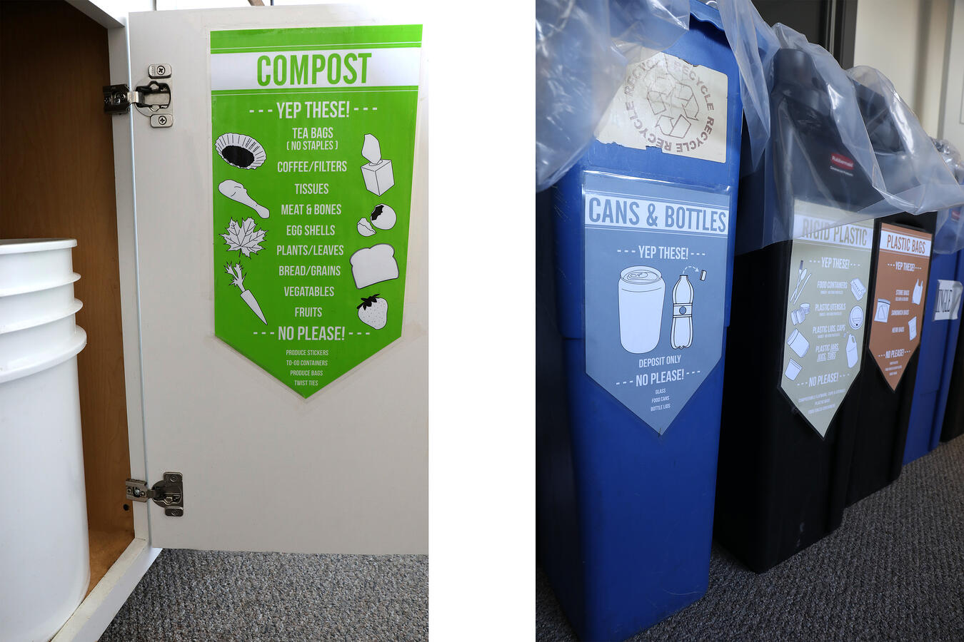 Labeled recycling bins at Mountain Rose Herbs