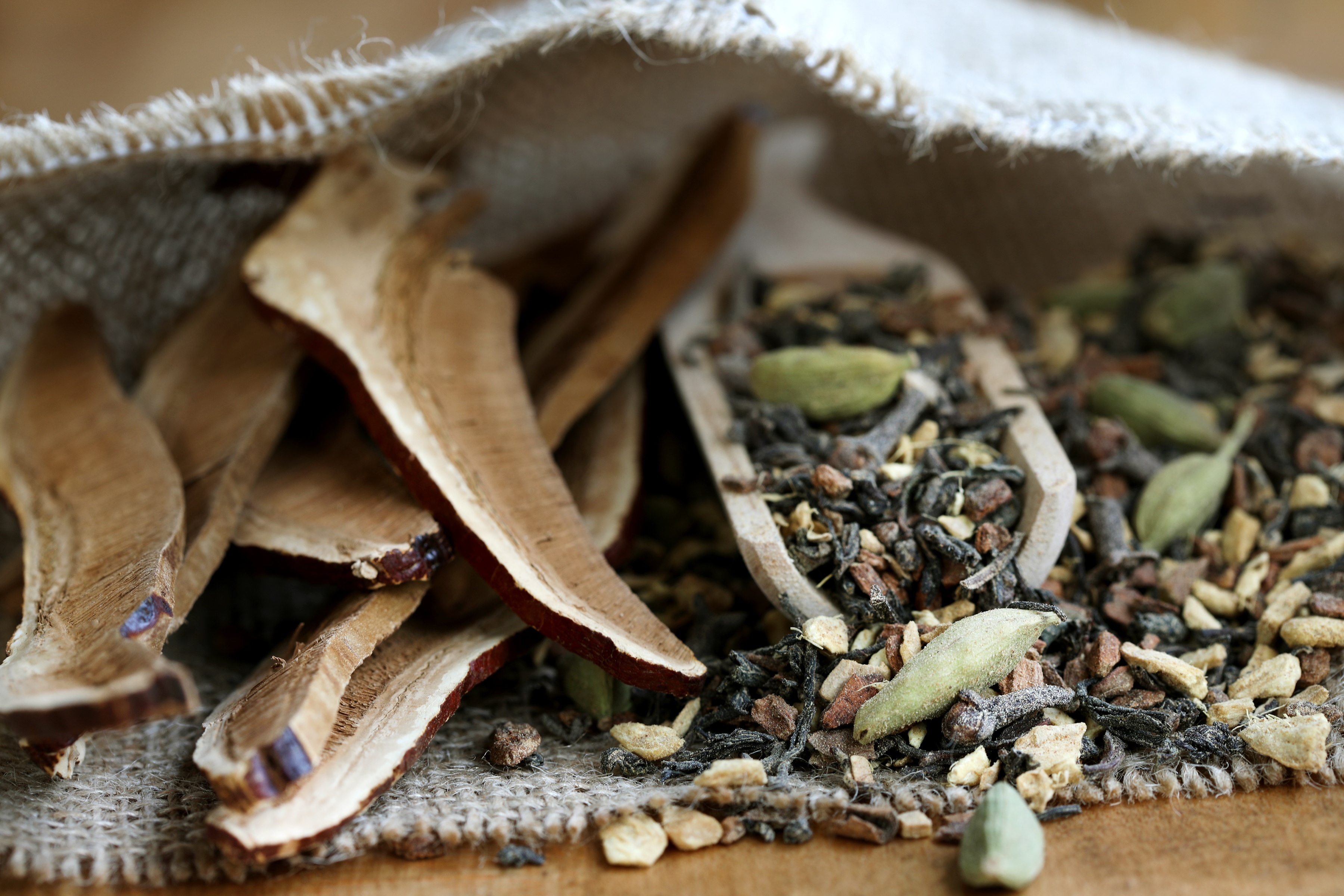 Cotton bag of chai ingredients and reishi mushroom slices