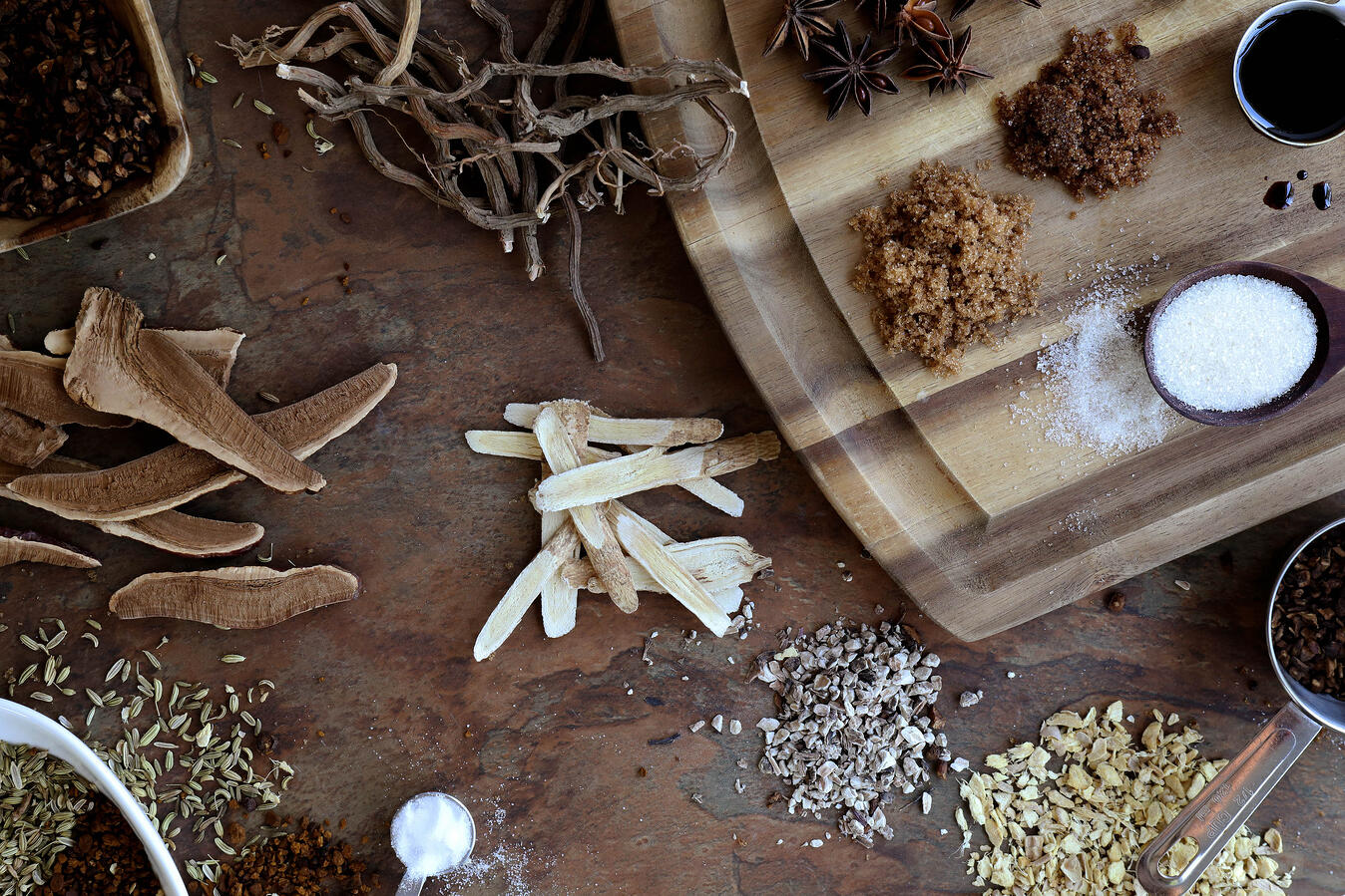 Root beer ingredients including astragalus, reishi, and brown sugar.