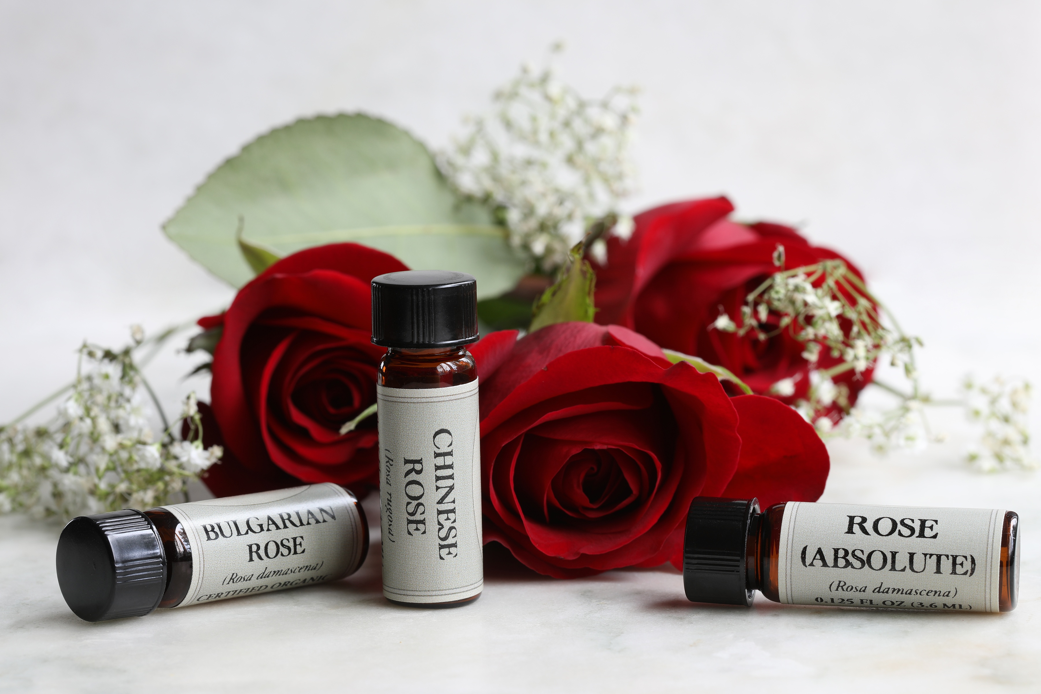 .125 oz bottles of rose absolute, chinese rose essential oil, bulgarian rose essential oil