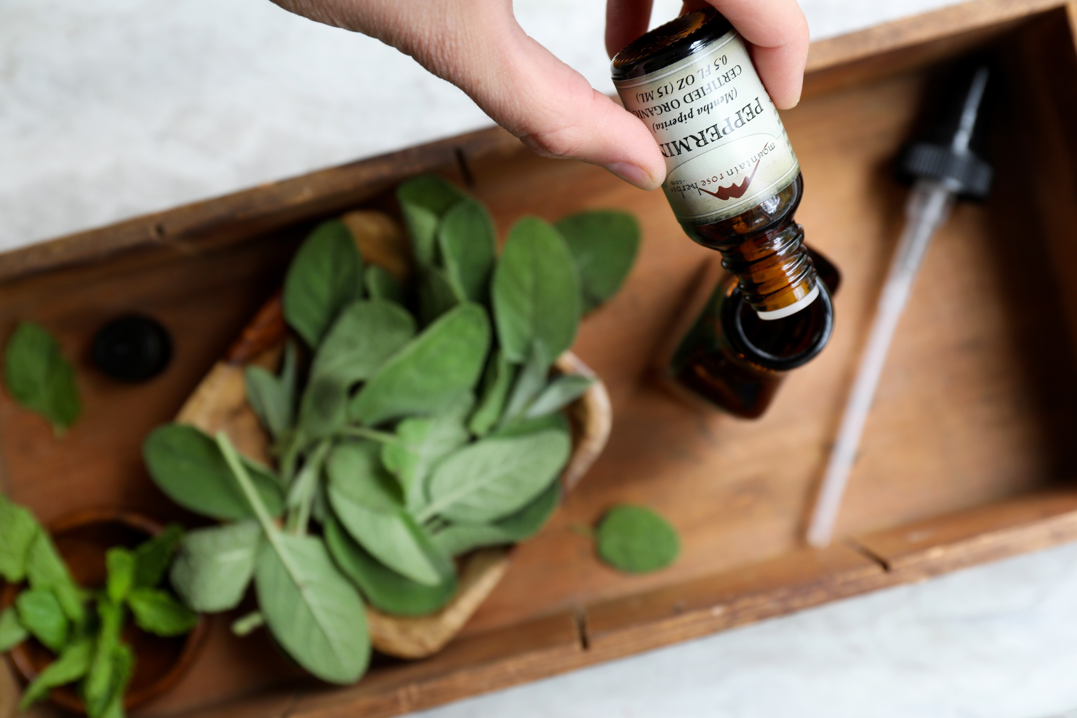 Hand pouring organic peppermint essential oil into glass spray bottle surrounded by fresh sage leaves