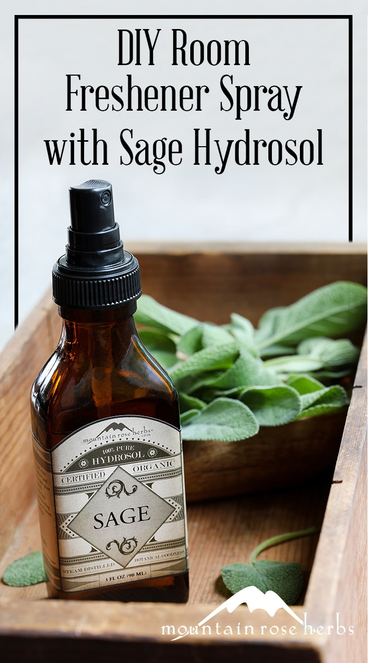 DIY Room Freshener Spray Recipe with Sage Hydrosol Pin from Mountain Rose Herbs