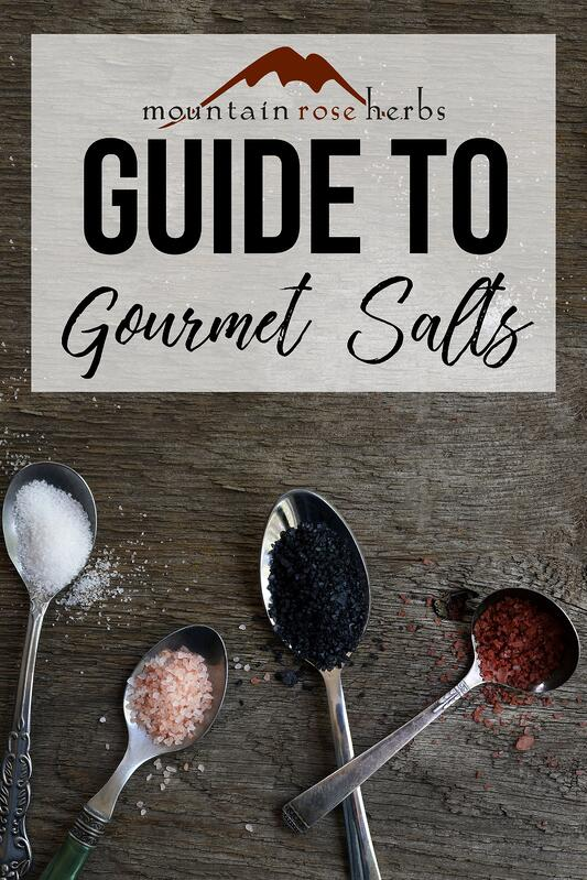 Guide to gourmet salts pin for Pinterest from Mountain Rose Herbs