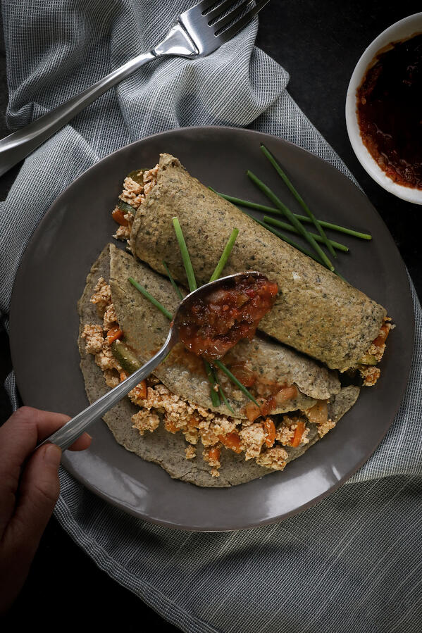 Gluten-free coconut buckwheat crepes with a savory tofu filling and salsa.