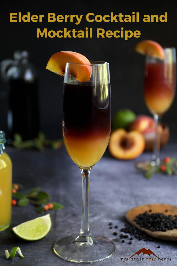 Fall Cocktails: Elder Bellini Recipe with a Mocktail Option Pinterest pin for Mountain Rose Herbs