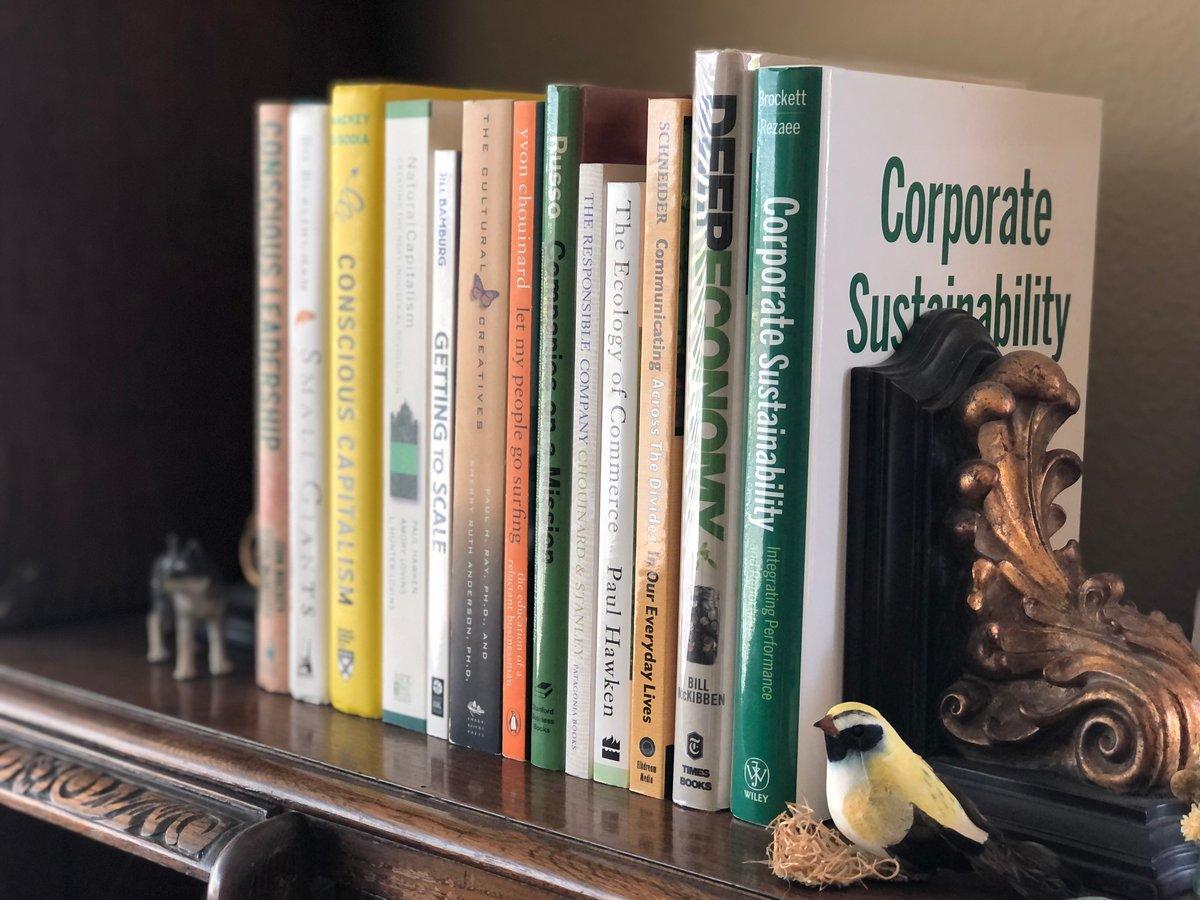 Business books on a shelf.