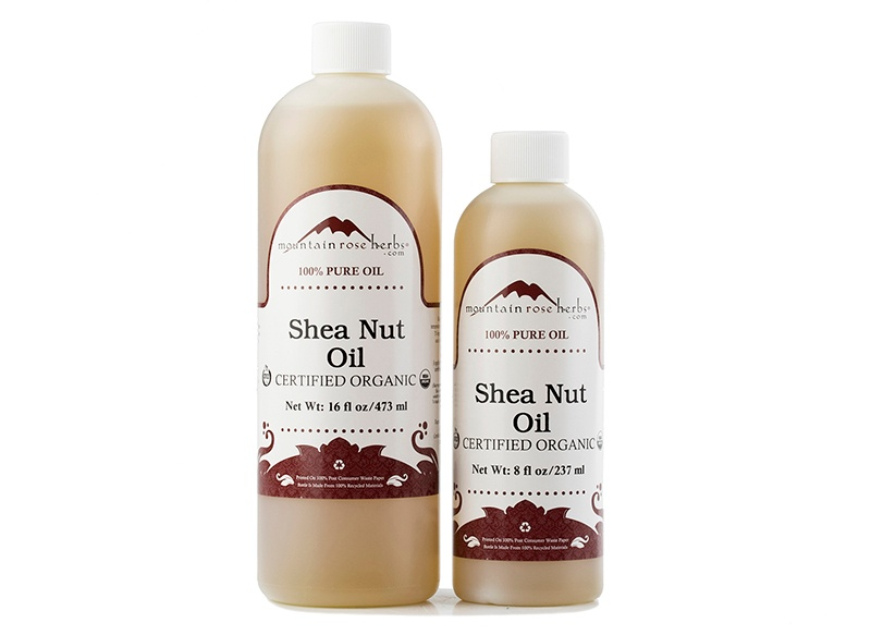 certified organic shea nut oil in 16 oz. and 8 oz. bottles
