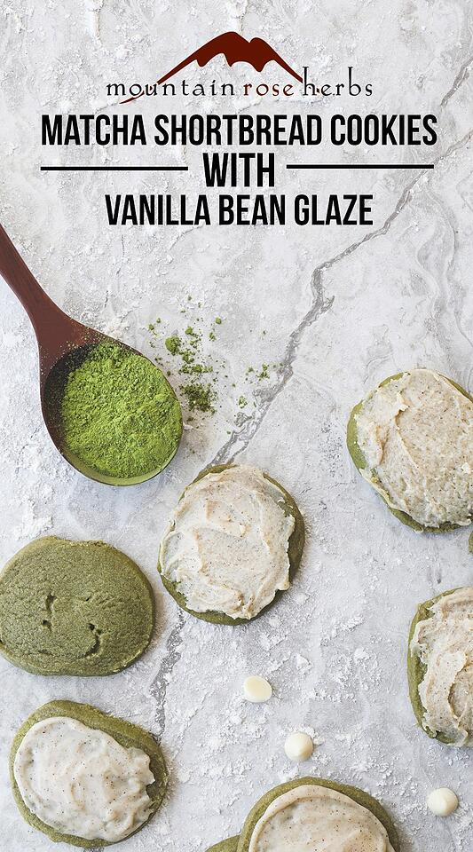 Matcha Shortbread Cookies with Vanilla Bean Glaze from Mountain Rose Herbs
