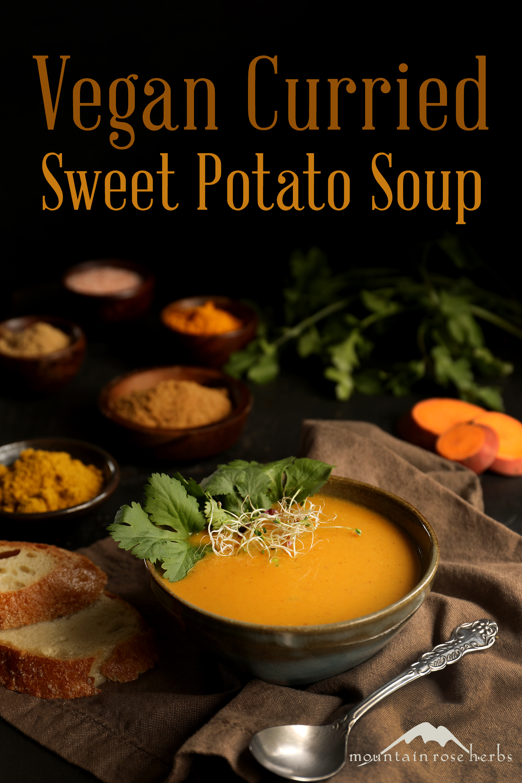 Sweet potato soup with coconut curry is delicious and warming with Indian spices like cinnamon and curry powder. Soup is garnished with fresh cilantro, sprouts, and crispy bread.