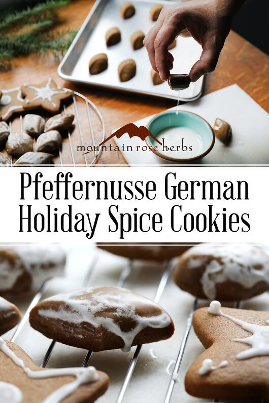 Pin for Pfeffernusse German Holiday Spice Cookies from Mountain Rose Herbs