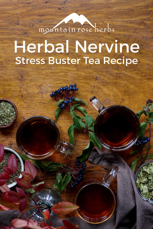 3 tea recipes for stress management include ingredients like catnip, skullcap, hops flowers, and chamomile.
