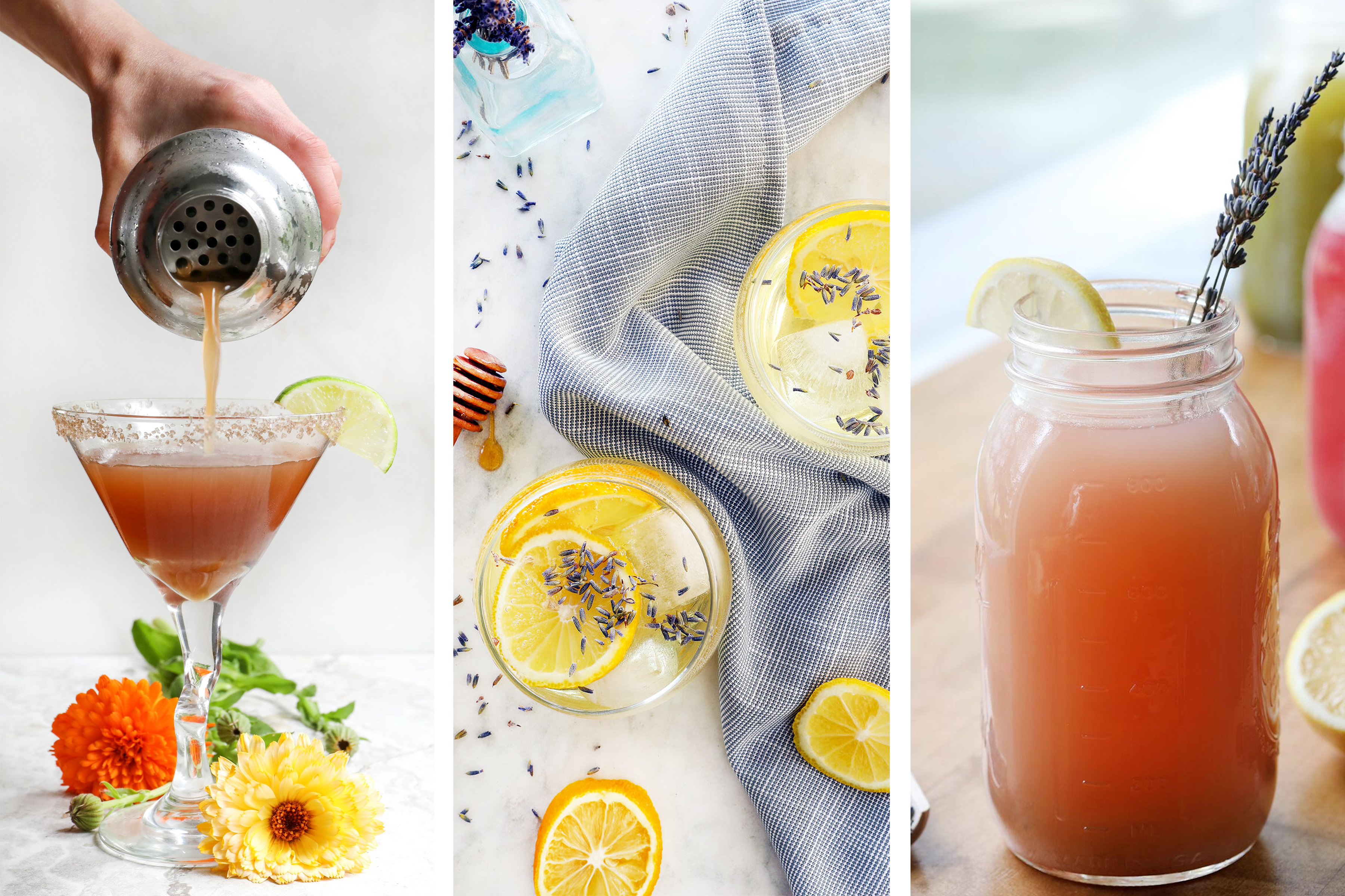 A trio of herbal mocktails and lemonades in glasses with botanicals