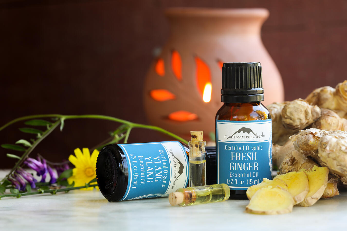 Bottles of ylang ylang and fresh ginger essential oils surrounded by fresh ginger root, flowers and a candle powered ceramic diffuser.