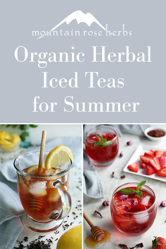 Pinterest link to Mountain Rose Herbs. Pictures of iced tea blends and fresh ingredients.