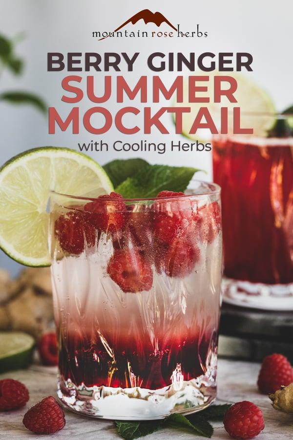 Berry Ginger Summer Mocktail Pinterest pin for Mountain Rose Herbs.