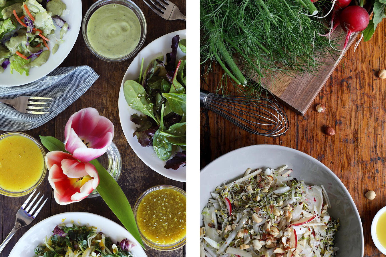 Summer salad with three light salad dressings and a sprout salad with bee pollen, fresh radishes and fennel.