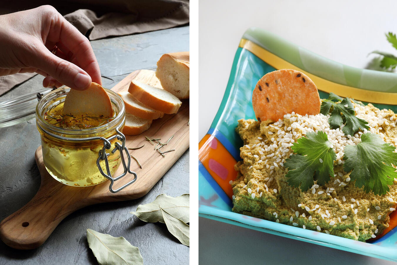 Herb-infused oils with baguette slices and vegan carrot cashew dip with crackers