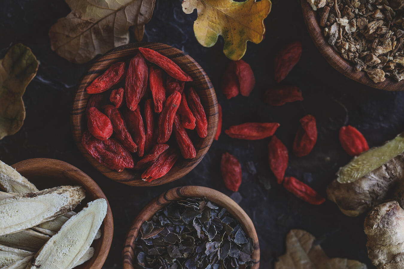 Traditional Chinese Medicine herbs for autumn soups.