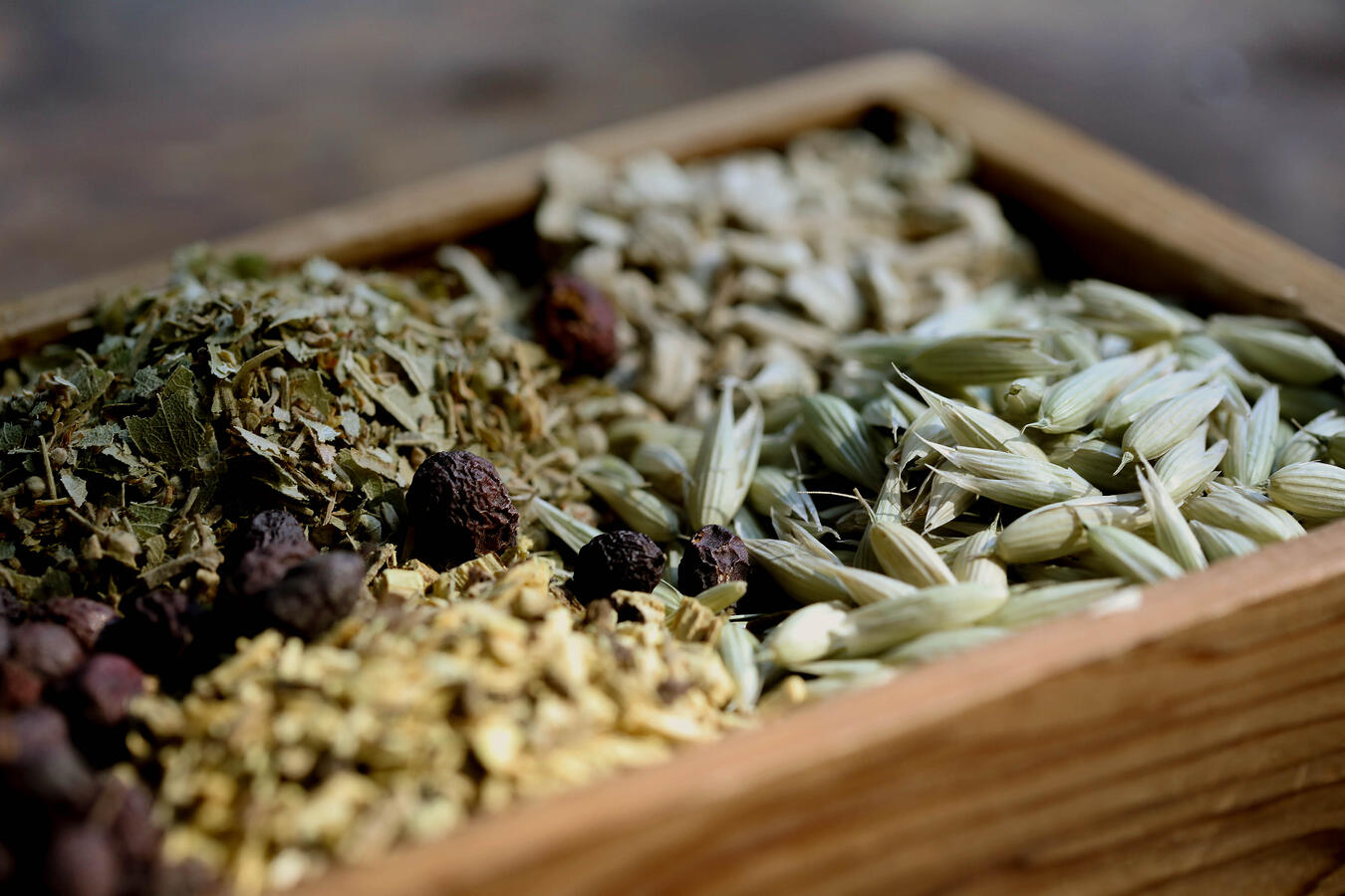 Traditional Chinese Medicine herbs in a box