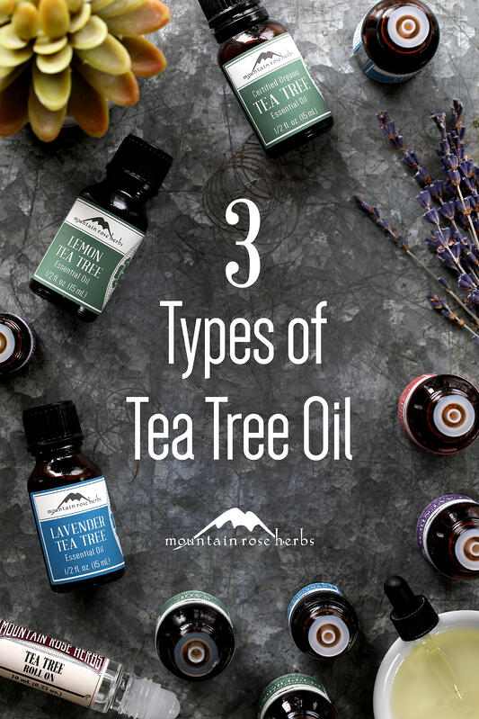 Organic tea tree essential oils include tea tree essential oil, lavender tea tree essential oil, and lemon tea tree essential oil. Packed in amber glass bottles with brightly colored labeling.