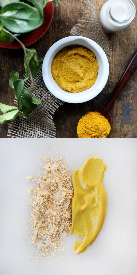 Diptych photograph featuring a set up of completed turmeric face mask paste arranged among a potted plant and wooden spoon. Second is a comparison of dried powder and completed yellow paste.