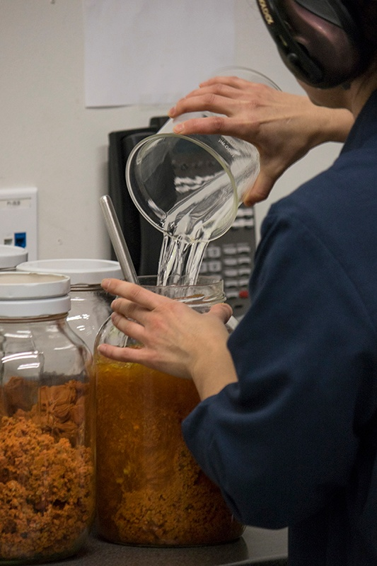 Pouring alcohol into jar of fresh turmeric