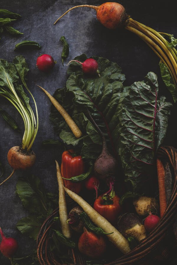 Colorful vegetables on a  deep gray background