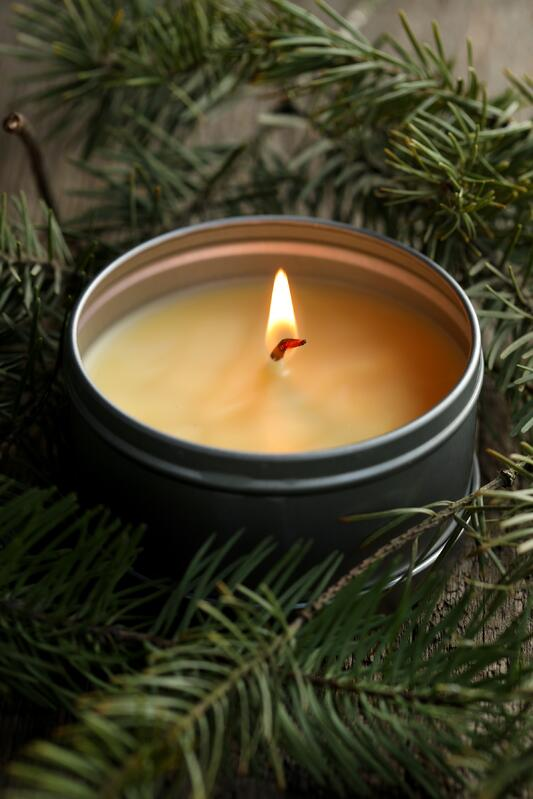 Candle in a tin burning with fir sprigs surrounding it