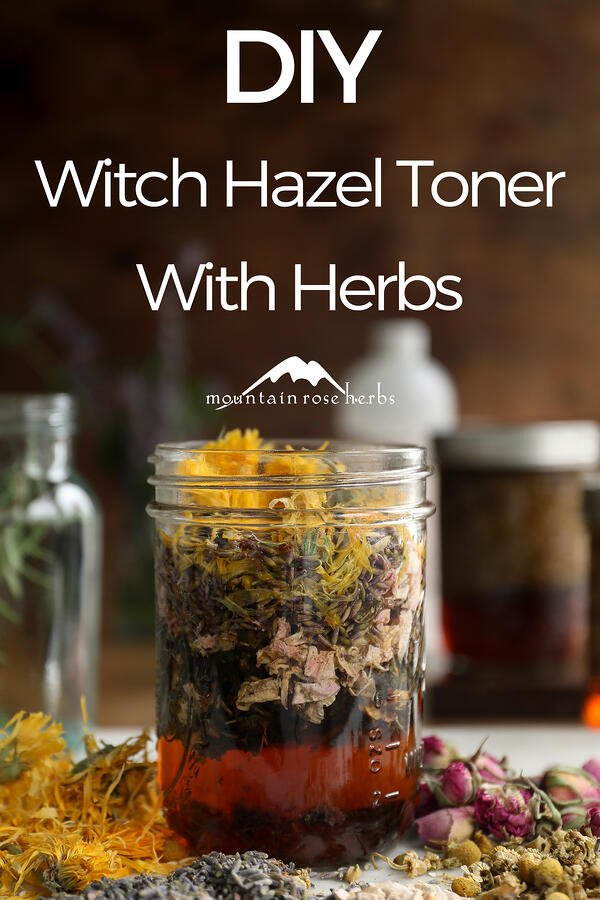 DIY Herb-Infused Witch Hazel Pinterest Pin for Mountain Rose Herbs